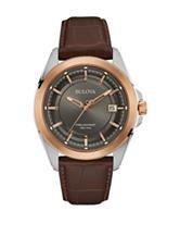 Bulova Two-Tone Faux Croco Brown Leather Strap Watch