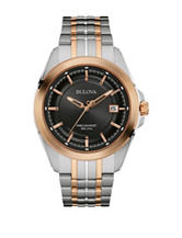 Bulova Black Dial Two-Tone Link Watch