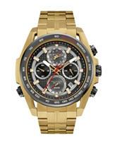 Bulova Grey Dial Gold-Tone Link Watch