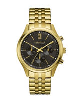 Caravelle New York Black Dial Gold-Tone Chronograph Watch