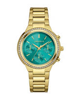 Caravelle New York Teal Dial Crystal Chronograph Watch