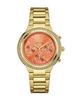Caravelle New York Melon Dial Crystal Gold-Tone Bracelet Watch
