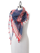 Cejon Flag Day Fringe Square Scarf