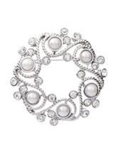 Napier Faux Pearl Wreath Box Pin