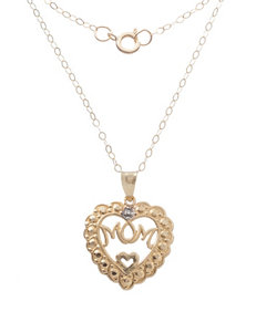 Diamond Accent Heart Mom Pendant Necklace in 10K Gold