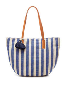Signature Studio Striped Woven Tote Handbag