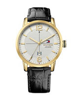 Tommy Hilfiger Men's Black Croco Embossed Strap Watch