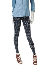 Signature Studio Navy Floral Print Basic Leggings