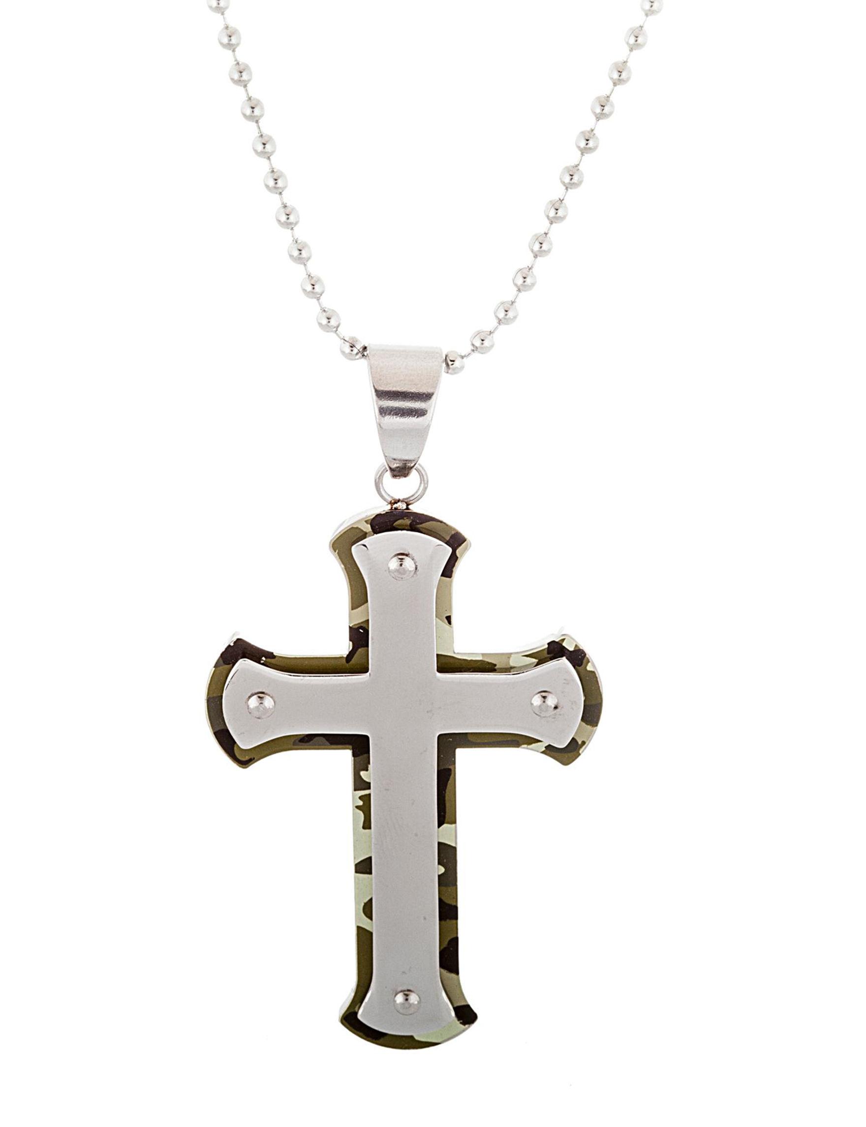 NES Steel/ Green Necklaces & Pendants Fine Jewelry
