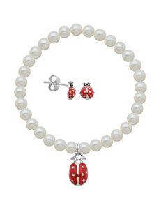 Lulabelle 2-pc. Pearl Ladybug Charm Bracelet & Earrings Set