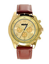 Unlisted Gold-Tone Dial Brown Strap Watch