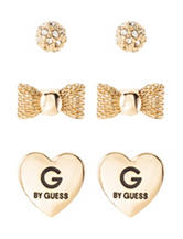 G by Guess 3-Pair Polished Crystal Earrings