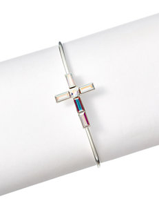 Cellini Side Cross Silver-Plated Cuff with Swarovski Crystals