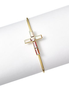 Cellini Side Cross Gold-Plated Cuff with Swarovski Crystals