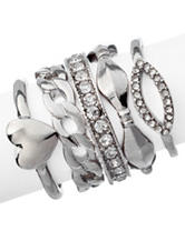 G by Guess 5-pc. Silver-Tone Rope Stack Rings