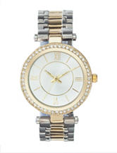 American Exchange 2-Tone Crystal Bezel Bracelet Watch