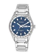 Armitron Navy Blue Sunray Dial Silver-Tone Link Watch