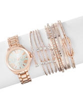 American Exchange 7-pc. Rose Gold-Tone Watch & Bracelet Set