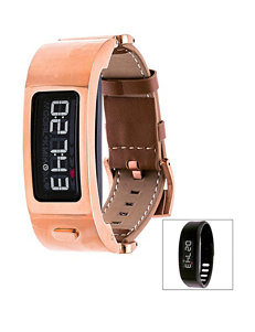 Garmin Vivofit 2 Rose Gold-Tone Leather Strap Digital Watch