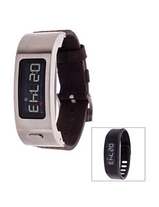 Garmin Vivofit 2 Silver-Tone Leather Strap Digital Watch