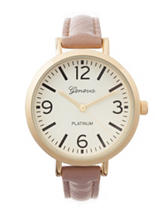 Global Time Gold-Tone Brown Strap Watch