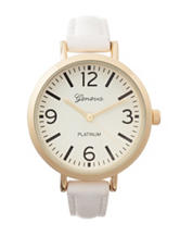 Global Time Gold-Tone White Strap Watch