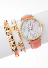Global Time 4-pc. Feather Dial Watch & Bracelet Set