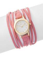Global Time Pink Faux Suede Wrap Watch