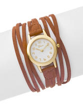 Global Time Brown Faux Suede Wrap Watch