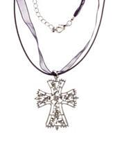 Hannah Organza Ribbon Silver-Tone Textured Cross Necklace
