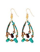 Hannah Brass-Tone Double Loop Seed Bead Drop Earrings
