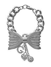 G by Guess Silver-Tone Mesh Bow Bracelet