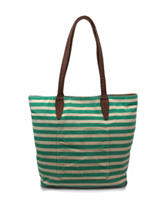 Bueno Green Stripe Print Reversible Tote Bag