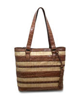 Bueno Striped Mixed Media Tote Bag