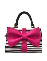 Betsey Johnson Curtsy Striped Bow Satchel