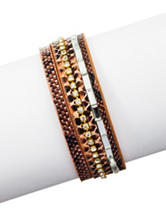 Signature Studio 2-Row Faux Snakeskin Wrapped Bracelet