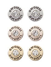 G by Guess Mixed Metal Trio of Logo Button Stud Earrings