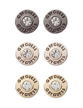 G by Guess Mixed Metal Trio of Antiqued Logo Button Stud Earrings