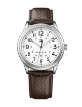 Tommy Hilfiger Table Sport Dark Brown Leather Strap Watch
