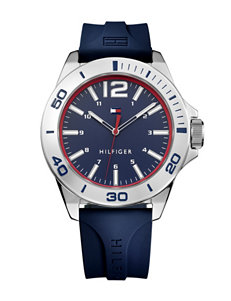 Tommy Hilfiger Table Sport Silver-Tone Bezel Silicone Strap Watch