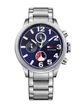 Tommy Hilfiger Jackson Silver-Tone Navy Dial Bracelet Watch