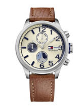 Tommy Hilfiger Jackson Parchment Dial Leather Strap Watch