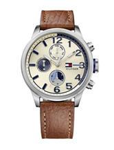 Tommy Hilfiger Jackson Parchment Dial Leather Strap Watch