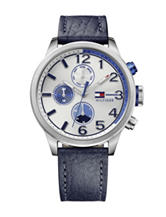Tommy Hilfiger Jackson Matte White Dial Leather Strap Watch