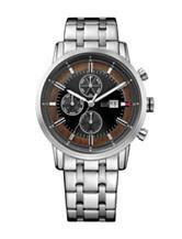 Tommy Hilfiger Harrison Silver-Tone Black Dial Bracelet Watch