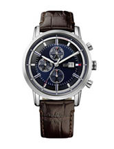 Tommy Hilfiger Harrison Silver-Tone Dark Brown Leather Strap Watch