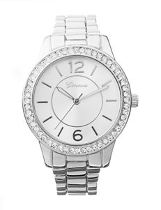 Global Time Silver-Tone Bling Bezel Bracelet Watch