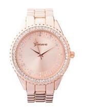 Global Time Rose Gold-Tone Bling Bezel Bracelet Watch