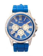 Global Time Navy & Gold-Tone Bling Bezel Silicone Strap Watch