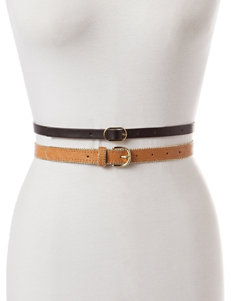 Steve Madden 2-for-1 Brass-Tone Bead Trim Belt